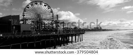 Santa Monica Pier Black and White