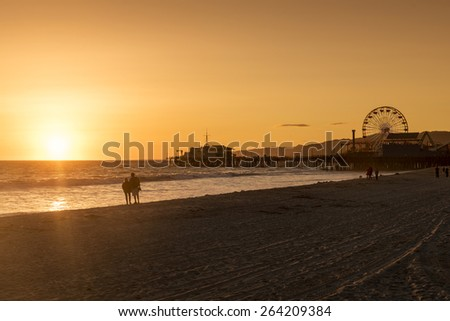 santa monica pier, Los Angeles, California - stock photo