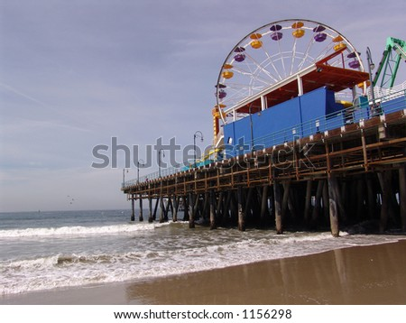 Santa Monica Pier, with Ferris Wheel in Southern California - stock photo