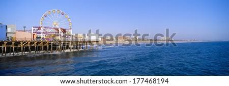 Santa Monica Pier with Ferris wheel, Santa Monica, California - stock photo