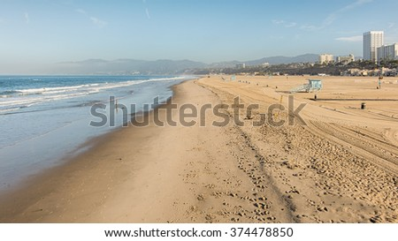 Santa Monica State Beach and the Pacific Ocean, at the end of Route 66, California. - stock photo