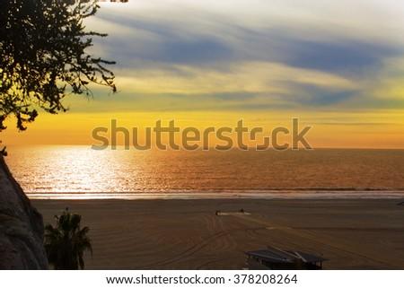 Santa Monica Sunset, Los Angeles. - stock photo