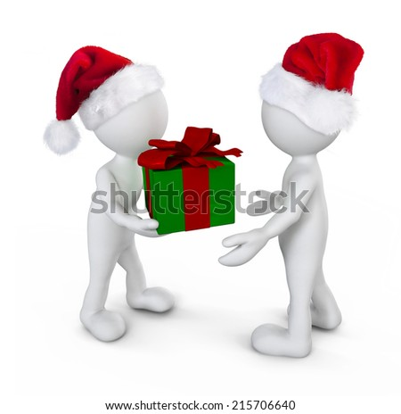 Santa Morphs With Gift - stock photo