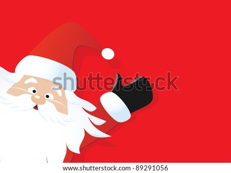 Santa on a red background - stock photo