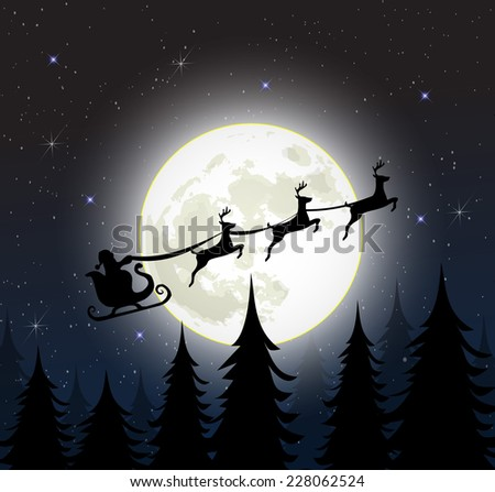 Santa on a sleigh with reindeers over the full moon - stock photo