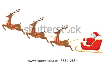 Santa on Sleigh and His Reindeers Isolated on White Background - stock photo