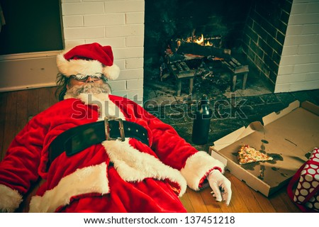 Santa partied too hard at this house. - stock photo