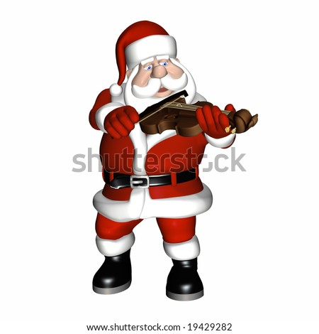 Santa playing a violin.  Isolated on a white background.