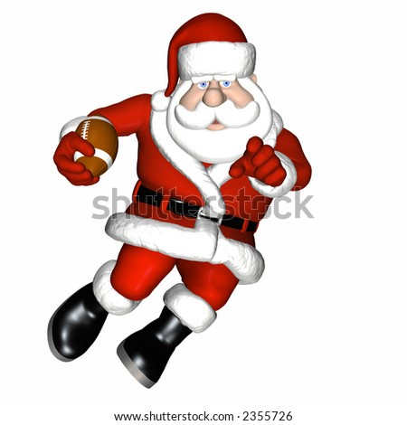 Santa Playing Football.  Running with the ball. Isolated on a white background.
