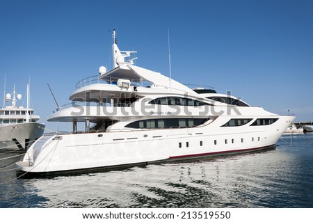 SANTA POLA - MAY 2, 2013: Luxury yacht in the sport port of Santa Pola, Alicante, Spain on May 2, 2013.