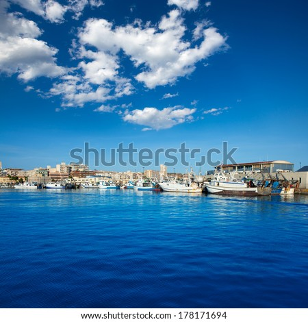 Santa Pola port marina in Alicante Valencia Province of Spain - stock photo