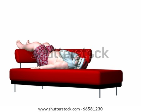 Santa posing on a couch in his festive boxer shorts. Isolated on a white background.