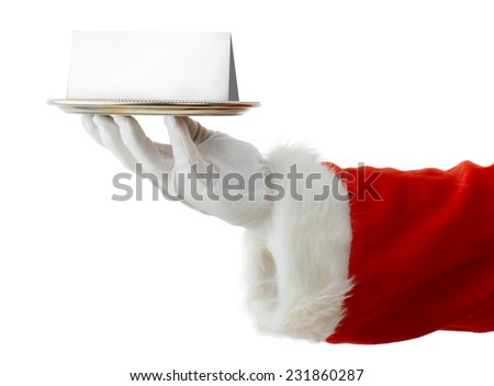 Santa presenting a silver platter with a blank card for copy space isolated on a white background