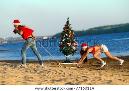 Santa pulling Christmas tree on a sled at the beach.  (concept: Tropical winter fun)