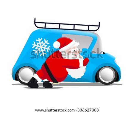 Santa pushing a blue mini car - stock photo