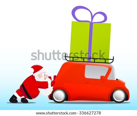 Santa pushing a red mini car with a gift box - stock photo