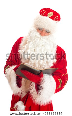 Santa reading list of gifts. Isolated on white.