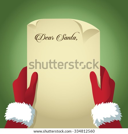 Santa reads a letter with copy space - stock photo