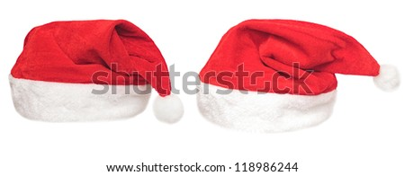 Santa red hat isolated in white background .set - stock photo