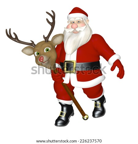 Santa Riding Stick Reindeer - Santa riding on a smiling stick red nosed reindeer. Isolated on a white background. - stock photo