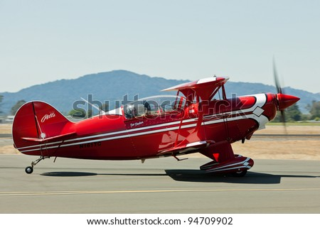 SANTA ROSA, CA - AUG 21: Tim Decker Pitts S-2B pilot during the Wings Over Wine Country Air Show, on August 21, 2011, Sonoma County Airport, Santa Rosa, CA. - stock photo