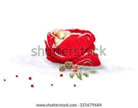 Santa's bag and Christmas decorations - stock photo