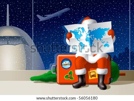 Santa's Christmas travel - stock photo