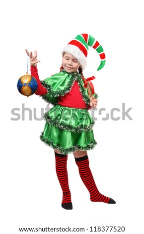 Santa's elf with a Christmas ball. Isolated on a white - stock photo