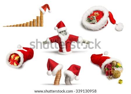 Santa's hats and holiday bonuses - stock photo