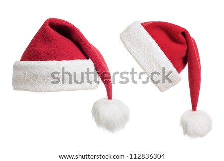 Santa's hats or caps collection isolated on white - stock photo