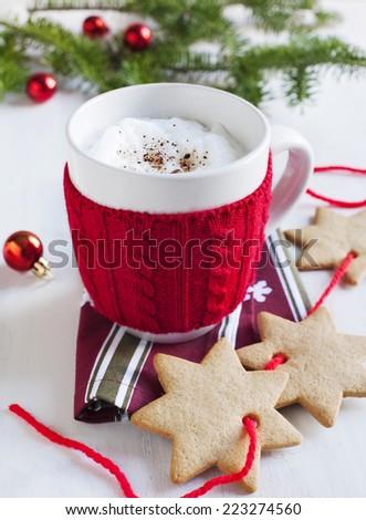 Santa's milk and gingerbread cookies - stock photo