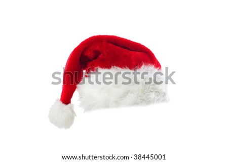 Santa's red hat isolated over white background