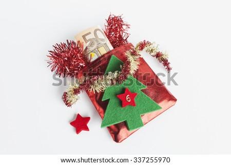 Santa's sack, Euro notes - stock photo
