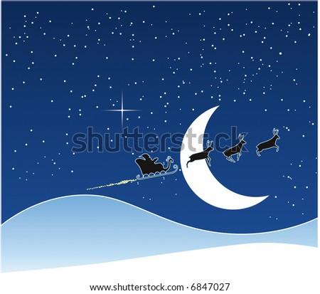 Santa's Sledge in Christmas night - stock photo