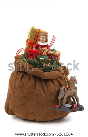 Santa's toy bag with doll, train, horse, drum and wrapped gift