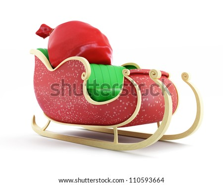 santa sleigh and Santa's Sack with Gifts on white background - stock photo