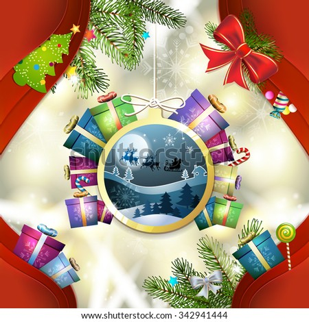 Santa sleigh in hanging ball shape - stock photo