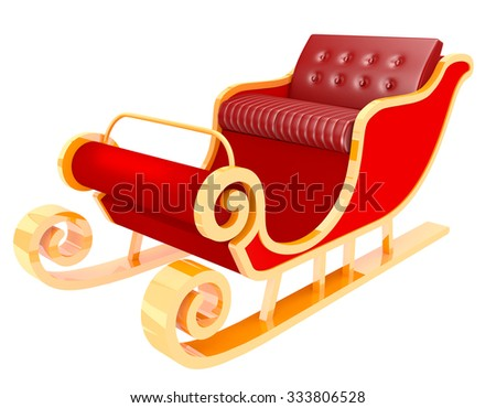 santa sleigh isolated on white background - stock photo
