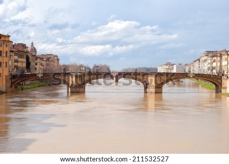 Santa Trinita bridge over the Arno river in Florence, Italy