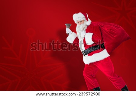 Santa walking with his sack and bell against red snowflake background
