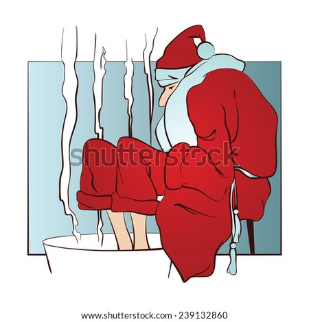 Santa warms frozen feet in hot water - stock illustration