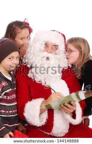 Santa with children - stock photo