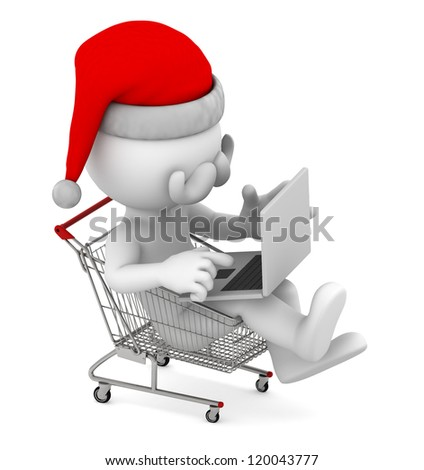 Santa with laptop inside shopping cart. E-commerce concept. Isolated