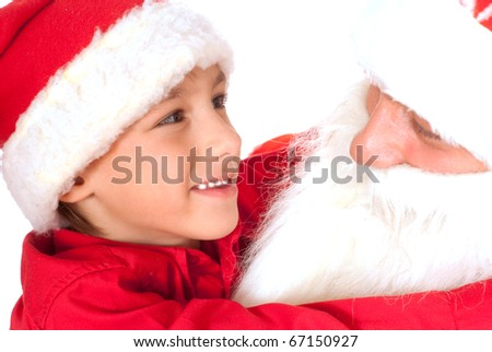 Santa with nice child on a white background
