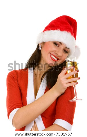 Santa woman and goblet with champaign