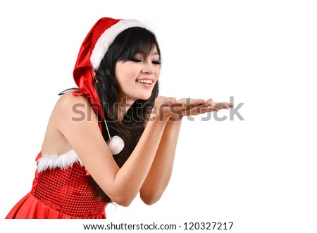 Santa woman  holding a white poster isolated a on gray background