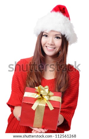 Santa Woman with Christmas Gift Box isolated on white background, model is a asian girl