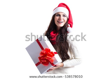 Santa woman with Christmas gift isolated on white background.