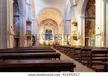 Santarem, Portugal. September 10, 2015: Nave of the Hospital de Jesus Cristo Church. 17th century Portuguese Mannerist architecture, called Chao.
