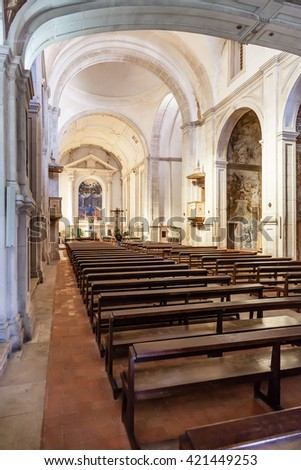 Santarem, Portugal. September 11, 2015: Nave of the Hospital de Jesus Cristo Church. 17th century Portuguese Mannerist architecture, called Chao.